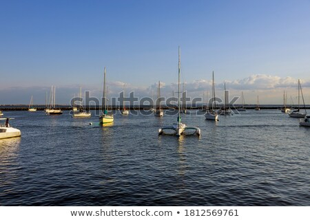 the yacht harbor full of beautiful boats on the coast of the algarve in portugal stock photo © wjarek
