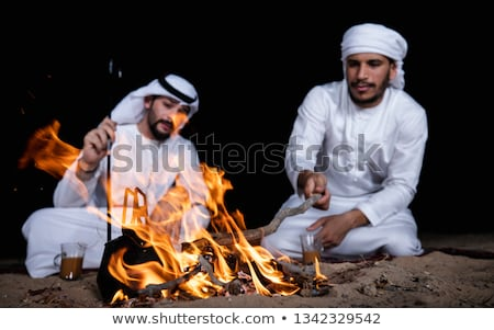 Two friends sitting around bonfire in the camping. Stock photo © RAStudio