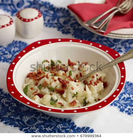 Bowl of cauliflower bacon risotto Stock photo © IS2