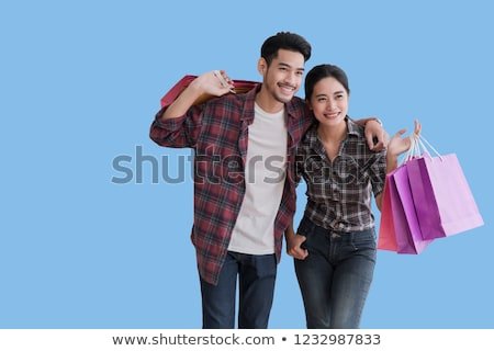 asian woman shopping smile and holding shopping bag with shoppi stock photo © frameangel