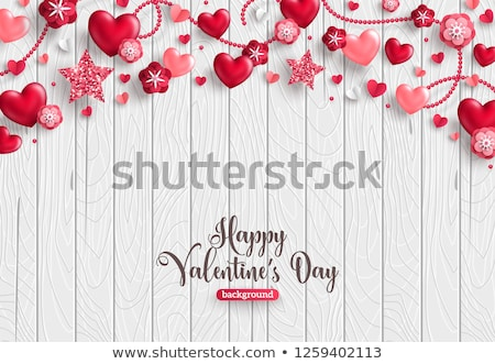 Happy Valentines Day Illustration with Heart and Glitter on Red Background. Vector Wedding and Love  Stock photo © articular