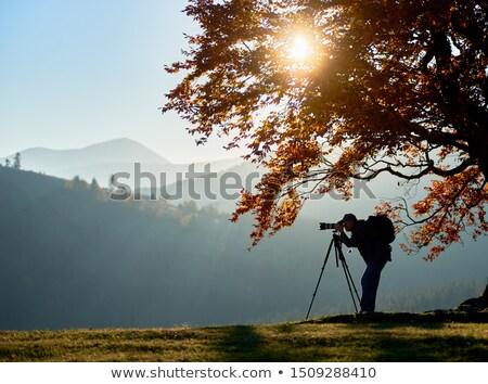 Sonbahar trekking dağlar turist kaya Stok fotoğraf © Kotenko