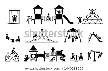 Set of children playing with playground equipment Stock photo © bluering