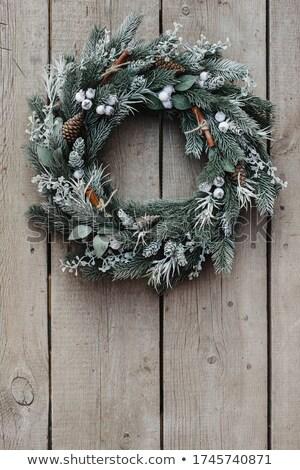 christmas · sneeuwvlokken · decoratief · kerstboom · houten · tafel - stockfoto © dash