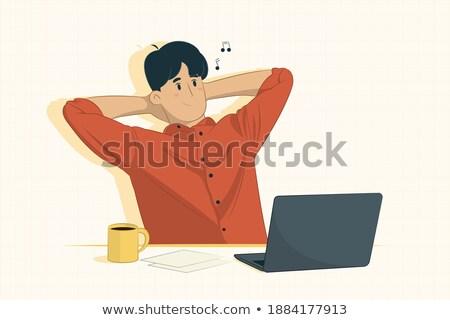 Irodai munka poszter férfi pihen munkahely vektor Stock fotó © robuart
