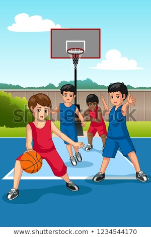 Vegyes nemzetiségű csoport gyerekek játszanak kosárlabda illusztráció boldog gyerekek Stock fotó © artisticco