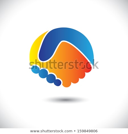 Mensen teamwerk oranje Blauw vector logo Stockfoto © blaskorizov
