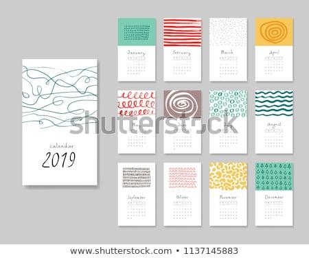 naptár · sablon · színes · hullámok · iroda · terv - stock fotó © SArts