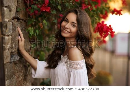 portré · örömteli · nő · sötét · göndör · haj · visel - stock fotó © deandrobot