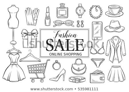 bevásárlószatyor · kézzel · rajzolt · skicc · firka · ikon · bevásárlóközpont - stock fotó © rastudio