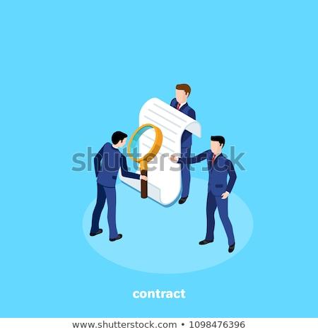 увеличительное стекло бумаги документа подписи документы изолированный Сток-фото © robuart