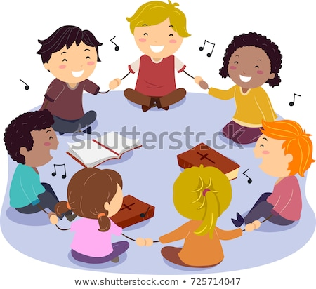 stickman kids singing praise illustration stock photo © lenm