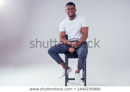 portret · gelukkig · jonge · afrikaanse · man · najaar - stockfoto © deandrobot