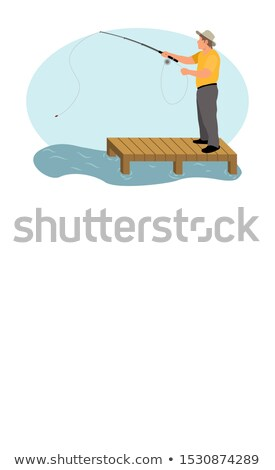 Fisher with Spinning Standing on Pier Isolated Stock photo © robuart