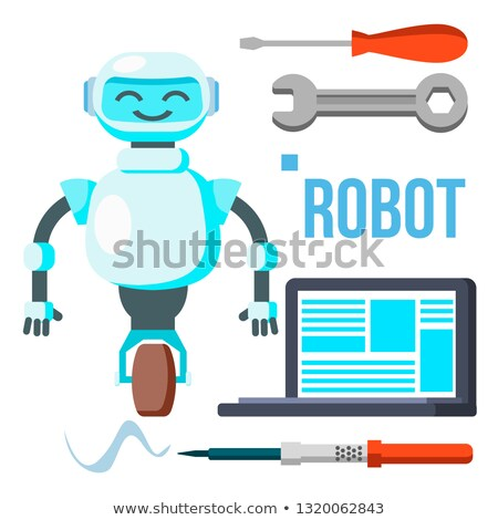 Robot With Laptop Vector. Homemade Assistant Helper. Isolated Flat Cartoon Illustration Stock photo © pikepicture