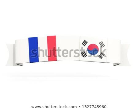 Bandeira dois praça bandeiras França Coréia do Sul Foto stock © MikhailMishchenko
