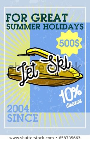 Color vintage jet ski banner Stock photo © netkov1