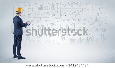 Tablet and tools with blueprint concept Stock photo © ra2studio