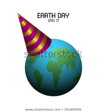 Earth Day banner of planet with birthday hat Stock photo © cienpies