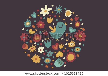 Frame template with different kinds of flowers Stock photo © colematt