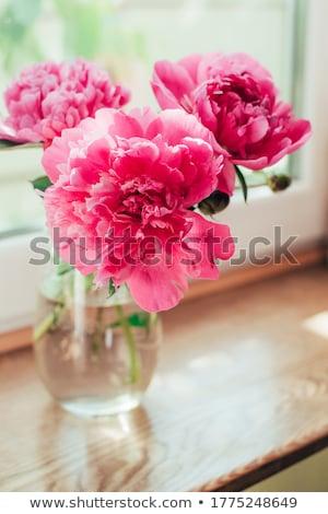 Vase with beautiful flowers on light table Stock fotó © Melnyk