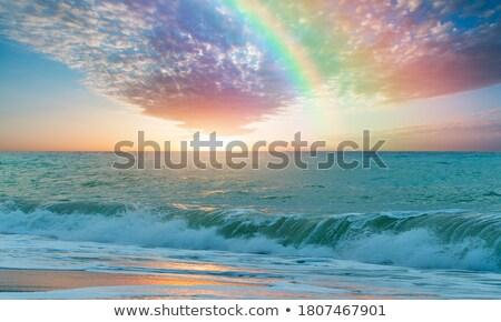 Zivatar tengerpart tájkép illusztráció háttér művészet Stock fotó © bluering