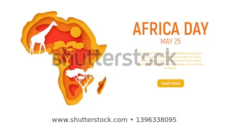 Afrika földrész térkép állatok illusztráció stílus Stock fotó © cienpies