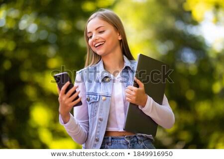 blijde · vrouw · voorjaar · zomer · park · glimlach - stockfoto © deandrobot
