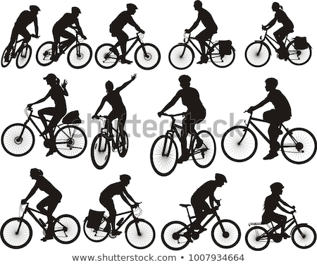 Bicicleta equitação bicicleta ciclistas silhuetas conjunto Foto stock © Krisdog