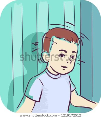 Gyerek fiú tünet fej illusztráció visszafelé Stock fotó © lenm