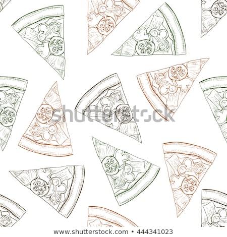 Végtelen minta pizza szalámi szín eps 10 Stock fotó © netkov1