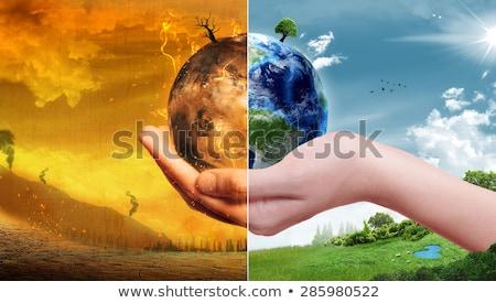 Globális felmelegedés 3d illusztráció absztrakt Föld füst bolygó Stock fotó © Lightsource