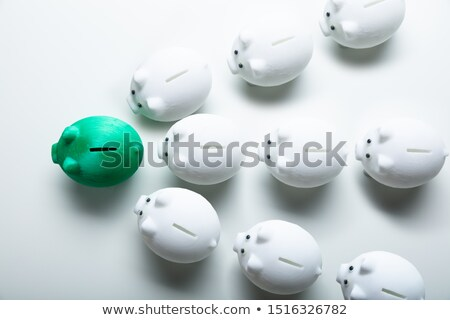 White Piggybanks Following Green Piggybank Stock photo © AndreyPopov