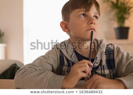 Nadenkend naar jongen math Stockfoto © wavebreak_media