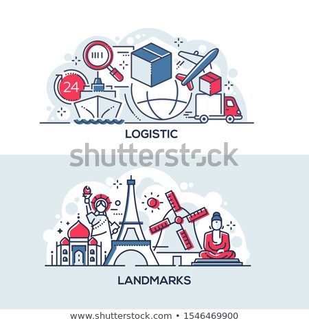 Logistics and world famous landmarks banner template Stock photo © Decorwithme