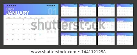 Moderno azul calendário traçado modelo de design parede Foto stock © SArts
