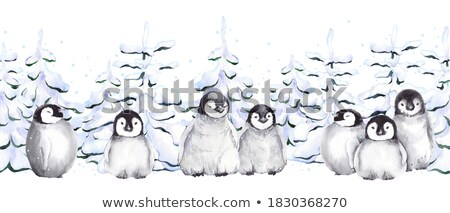 Penguins in Forest Pine Trees, Winter Landscape Stock photo © robuart