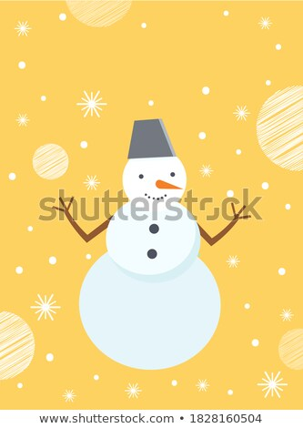 Snowman, Winter Holiday Decor, Be Merry Caption Stock photo © robuart