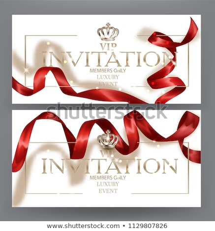 Abstract curly silk ribbon on red background, exclusive luxury b Stock photo © Anneleven