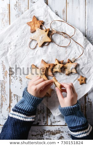 Christmas gingerbread elk-shaped cookies with decoration Stock photo © Melnyk