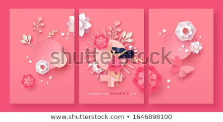 Women's day papercut spring flower woman card set Stock photo © cienpies
