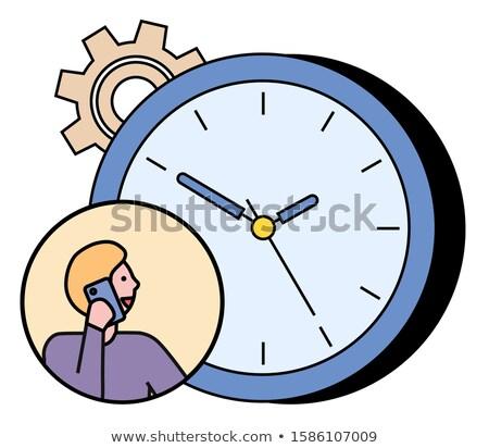Wall Clock and Cogwheel, Man Talk on Telephone Stock photo © robuart