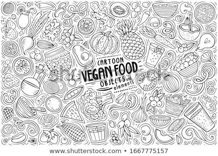 Vector ingesteld veganistisch voedsel objecten symbolen Stockfoto © balabolka