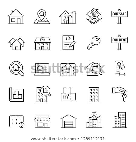 Gebäude kosten Symbol Vektor Gliederung Illustration Stock foto © pikepicture