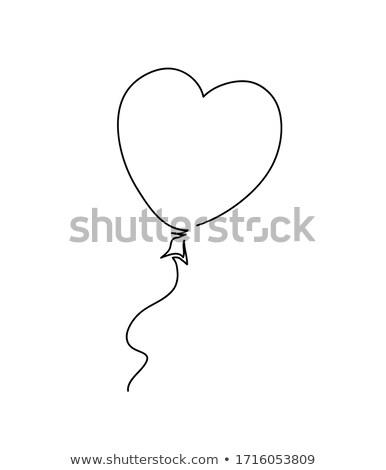 Coeur ballon dessin ligne art Photo stock © ESSL