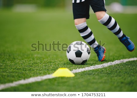 Detail soccer player kicking ball on pitch sideline Stock photo © matimix