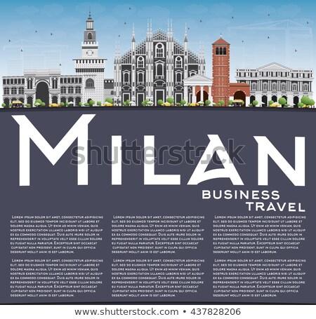 Milánó sziluett szürke kék ég copy space üzleti út Stock fotó © ShustrikS