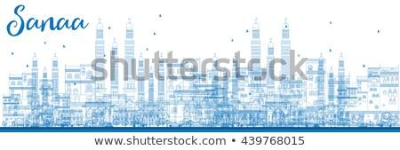 Iémen linha do horizonte azul edifícios Foto stock © ShustrikS
