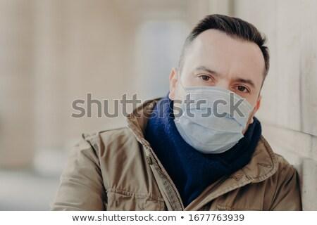 Ao ar livre tiro jovem europeu homem coronavírus Foto stock © vkstudio