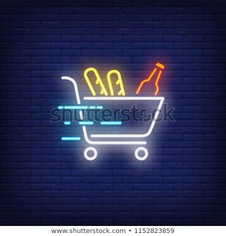 Gyors bevásárlókocsi neonreklám bolt promóció háttér Stock fotó © Anna_leni